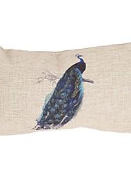 """Createforlife ® 12 """"x 20"""" Orgulho Retângulo Peacock algodão / Linen almofadas decorativas"""