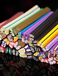 50PCS Butterfly Pattern 3D Cane Stick Rod Sticker Random Color Nail Art Decoration