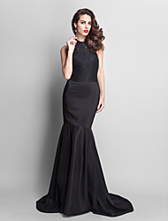 Formal Evening Dress - Black Plus Sizes Trumpet/Mermaid Jewel Court Train Lace/Stretch Satin