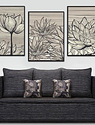 Lotus Decorative Painting Framed Canvas Print Set of 3