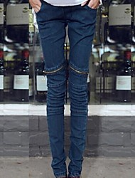 Zipper Character joelho magro Maternity Denim Jeans calças barriga para grávidas