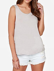 Women's Casual/Daily Simple / Cute Summer Tanks,Solid Round Neck Sleeveless Blue / Pink / Gray Opaque