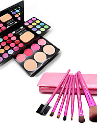 Dressing Case(24Eye Shadow+8Lipstick+4Blusher+3Powder+Comestic Mirror)With 7Pcs Cosmetic Brush Set
