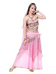 Производительность женские шелковые танец живота сексуальный блестками наряд - в том числе головной убор, вуаль, ленты, сверху, снизу