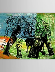 Hand Painted Oil Painting Animal Elephant Wall Picture with Stretched Frame