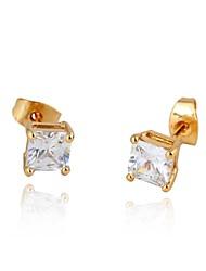 Nouveau mode Simple or 18K élégant de femme embarqué deux couleurs Zircon Earring ERZ0147