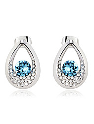 KEZO Fashion Teardrop Crystal Inside Out Earrings-20636/20637(Earrings:1.9*1.4Cm)