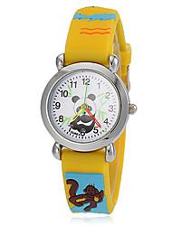 Damen Modeuhr Armbanduhr Armbanduhren für den Alltag Quartz Silikon Band Gelb