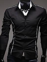 QCH Men'S Casual Long Sleeve Shirts(Black)
