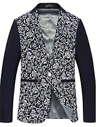 Men's Print Casual Blazer,Cotton / Cotton Blend Long Sleeve Blue