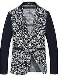 Men's Print Casual Blazer,Cotton / Cotton Blend Long Sleeve Blue