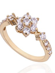 Women's Elegant  Flower 18K Gold Plated  Zircon Rings