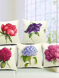 Cotton/Linen Pillow Cover , Floral Country