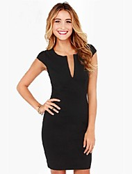 Women's Deep V Round Collar Zipper Short Sleeve Bodycon Plus Size Dress