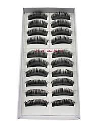 10Pairs Darker Thicker Curved Black Fiber False Eyelashes