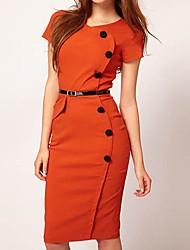 Botão de HZ Mulheres Decoração slim-encaixe vestido longo