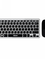 Qisan 78 Key Ultra Slim (4mm) Keyboard + 1200DPI Mouse Mini Wireless Combo Set for Desktop/PC
