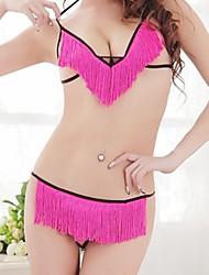 As mulheres atam Hot Roupa Transparente Sexy com borlas e G-corda