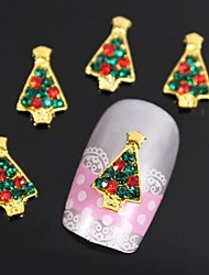 10pcs Golden Christmas Trees 3D Alloy Rhinestones Nail Art Decoration