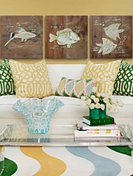 IARTS®Hand Painted Wall Art Wall Decor, Retro Style  Animal Fish Hand Painted Wall Décor Set of 3
