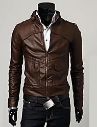 lapela pescoço jaqueta de couro bainha dos homens