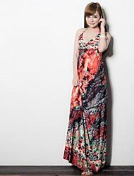 Venda quente da Mulher V profundo mangas Maxi Dress