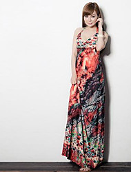 Women's Beach Swing Dress,Print Halter Maxi Sleeveless Blue / Pink / Green / Orange Others Spring / Summer / Fall