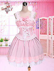 One-Piece/Dress Sweet Lolita Lolita Cosplay Lolita Dress Patchwork Bowknot Sleeveless Medium Length Dress For Cotton