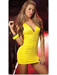 Vestido ajustado de cuello v profundo atractivo del club de la muchacha de las mujeres