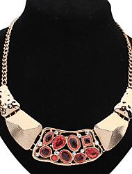 Caluolin Women's Temperament Metal Statement Necklace