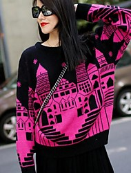 Women's Blue/Red Pullover , Casual/Print/Cute Long Sleeve