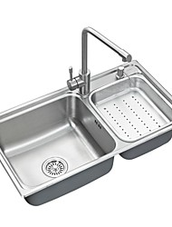 L32 Inch Double Bowl 304 Stainless Steel Kitchen Sink Set with Drain Rack,Set of 6