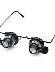 óculos cm202 digite 20x lupa com luz LED branca (2 x CR1620)