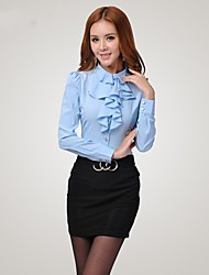 Qiaojiaren Shirt Collar Long Sleeve Solid Color Fitted Ruffle Blouse