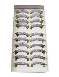 10pairs couleurs mélangées épais bouclés fibres à la main faux cils