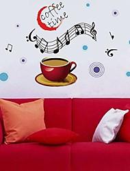 Createforlife® Leisure Music Coffee Time Kids Nursery Room Wall Sticker Wall Art Decals