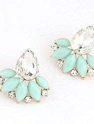 Stud Earrings Gemstone Resin Alloy Fashion White Blue Pink Jewelry Daily