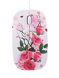 Rose Blossom Mini Color Printing Optical Retractable Cable USB Mouse