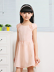 Momlook Cute Simple Check Short Sleeve Dress