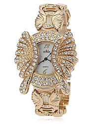 Donna Diamante manopola rotonda della lega della fascia di quarzo analogico della vigilanza di modo (colori assortiti)