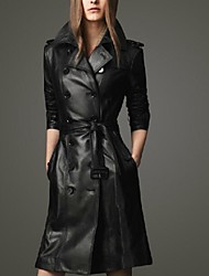 Women's Slim Black Color Trench Plus Size PU Coats
