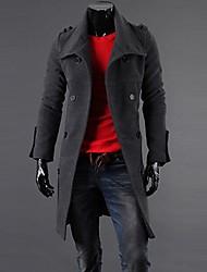 colar de lapela casuais epaulette manga longa casaco trespassado dos homens