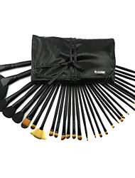 32 Pcs Black Brushes Full Suit Of Professional Make-up Tools Wool Fiber Hair