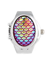 Scale Pattern Metal Quartz Analog Ring Watch (1Pc)