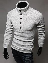 Le mode de cou de tortue lesen hommes mince décoration simple boutonnage longues occasionnels tricots à manches o