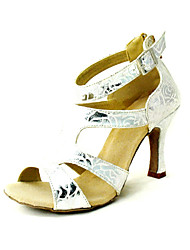 Customized Women's Rose Flowers Upper Latin Dance Shoes Heels With Zipper