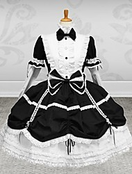 Long Sleeve Knee-length Black & White Cotton Gothic Lolita Outfit