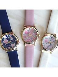 Women Watch Sweet Partysu Vintage Rose Leather Quatz Watch Assorted Colors D0249