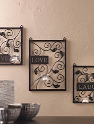 Metal Wall Art Wall Decor,LIVE LOVE LAUGU Candlestick Wall Decor Set Of 3