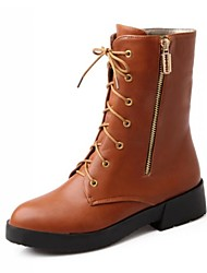 Women's Shoes Motorcycle Boots Low Heel Ankle Boots with Lace-up Zipper More Colors available